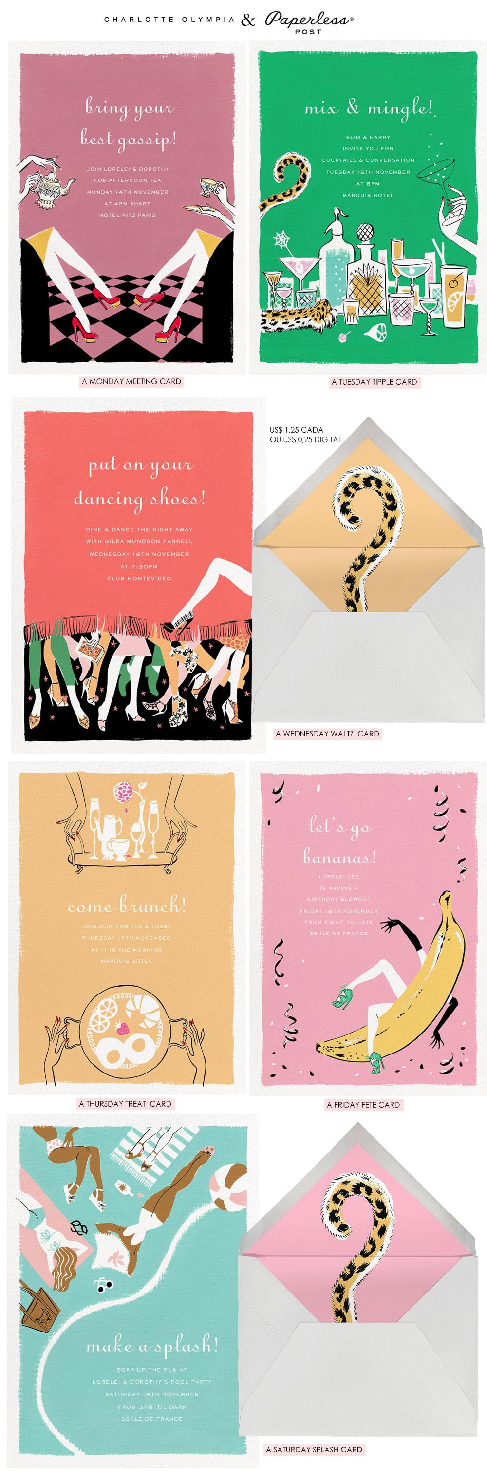 Os cartões fofos da Charlotte Olympia com a Paperless Post