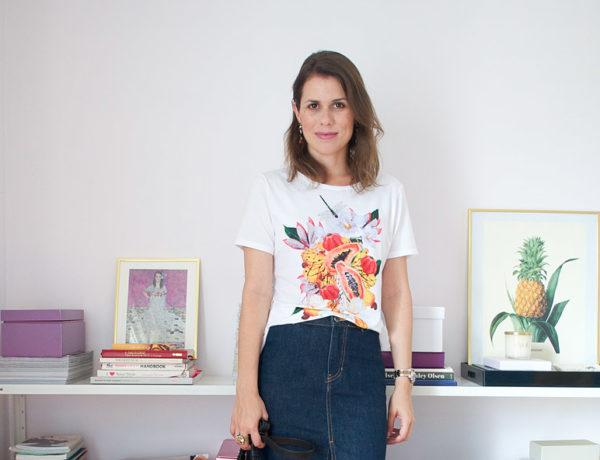 Meu look: saia lápis jeans e camiseta • Living Gazette