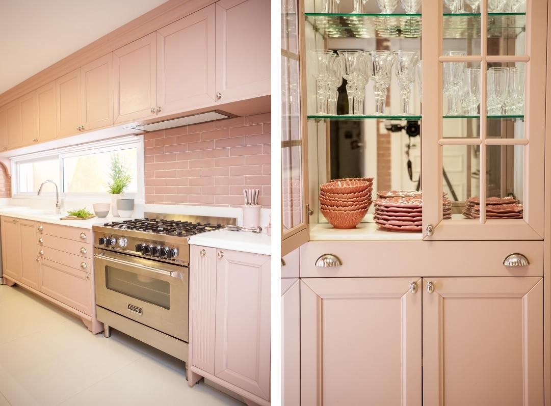 Cozinha rosa Paris da Ornare, projeto Maria Brasil Arquitetura