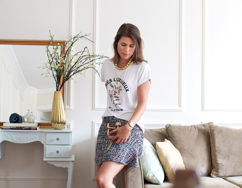 Adesivo De Olhos Para Artesanato ~ Meu look saia de tweed e camiseta Living Gaz