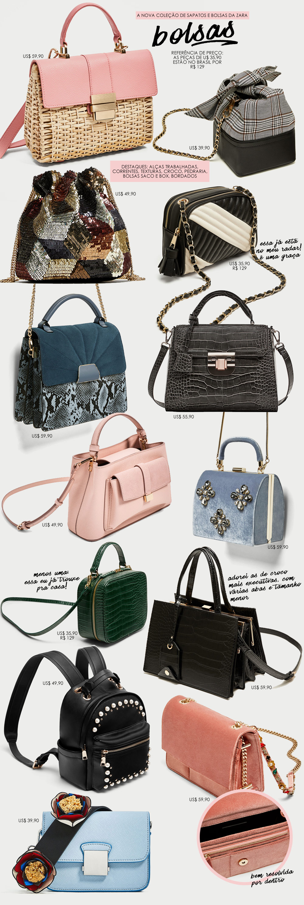 14a3e7f84 Um de cada  a nova coleção-desejo de sapatos e bolsas da Zara ...