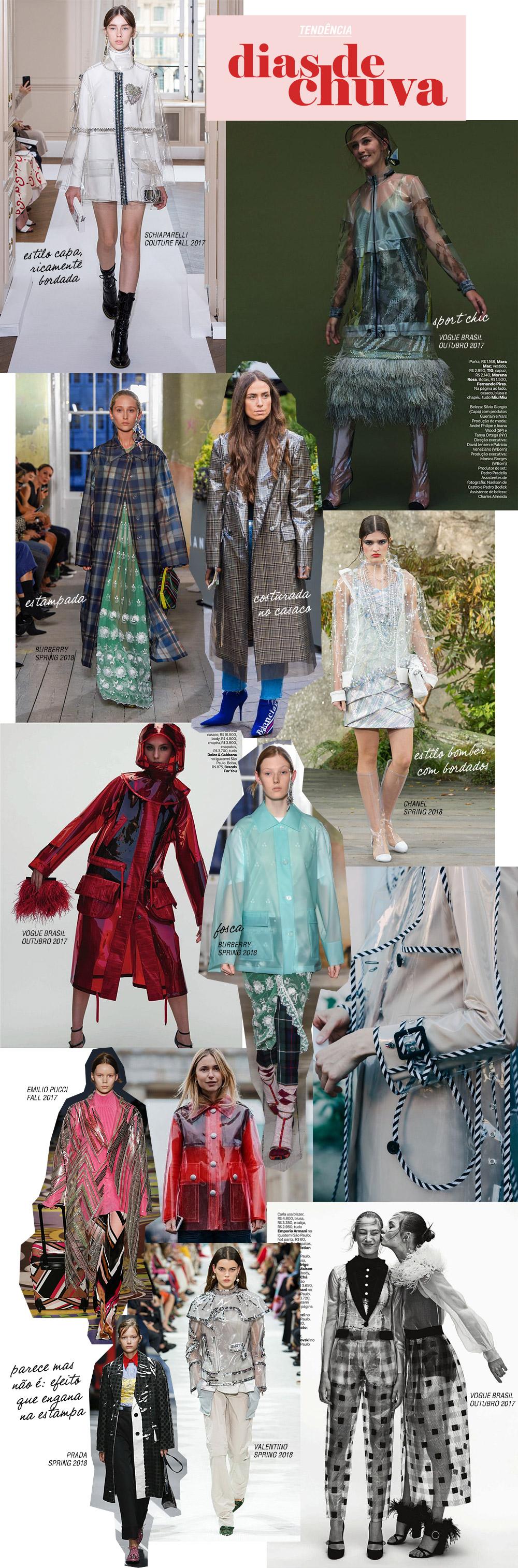 Se cubra com plástico: parkas, capas e jaquetas no material da vez